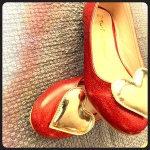 Doll Maker red sparkle ballet flat w/ gold heart!